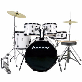 Ludwig LC175 Accent Drive 5-Piece Complete Drum Set, White (LC1758)