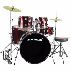 Ludwig LC175 Accent Drive 5-Piece Complete Drum Set, Wine Red (LC1754)