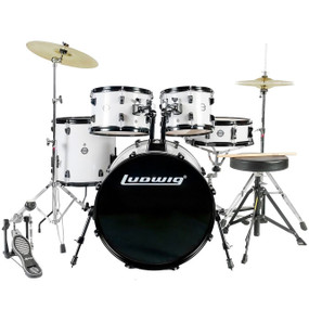 Ludwig LC170 Accent Fuse 5-Piece Complete Drum Set, White (LC1708)