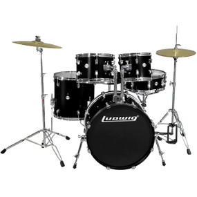 Ludwig LC170 Accent Fuse 5-Piece Complete Drum Set, Black (LC1701)