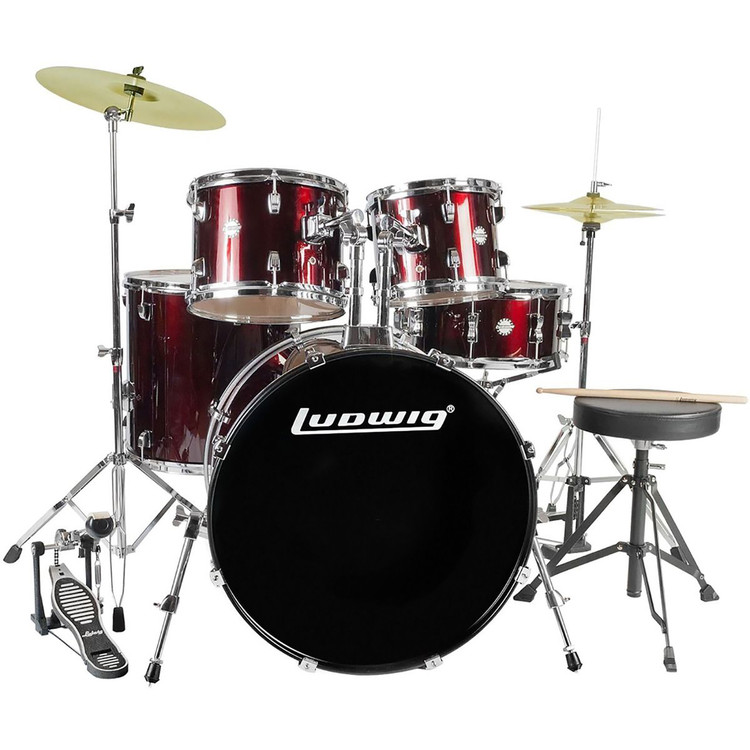 Ludwig LC170 Accent Fuse 5-Piece Complete Drum Set, Wine Red (LC1704)