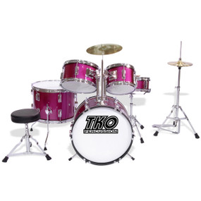 TKO Percussion TKO101 Complete 5-Piece Junior Child Size Drum Set, Magenta Pink