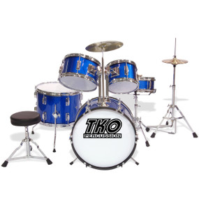 TKO Percussion TKO101 Complete 5-Piece Junior Child Size Drum Set, Metallic Blue