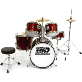 TKO Percussion TKO101WR Complete 5-Piece Kids Junior Drum Set, Wine Red (TKO101WR)