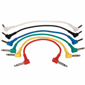 "Perfektion 6-Pack of Color 1ft 1/4"" to 1/4"" TS Right-Angle Effects Pedal Patch Cables (PM616)"