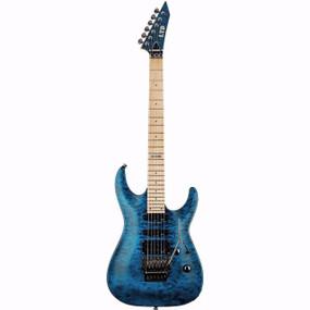 ESP LTD MH-103 QM Electric Guitar, See Thru Blue (LMH103QMSTB)