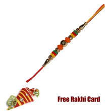 Colorful Beads Rakhi with Roli Tikka and Card