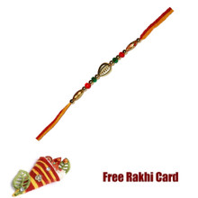 Colorful Single Bead Rakhi with Roli Tikka and Card