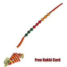 TriColor Beads Rakhi with Roli Tikka and Card
