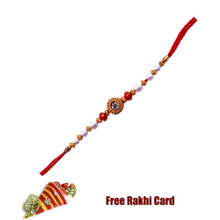 Rudraksh Red Beads Rakhi with Roli Tikka and Card