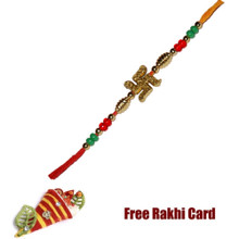Trendy Swastik Rakhi with Roli Tikka and Card
