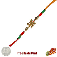 Swastik Rakhi with Free Silver Coin
