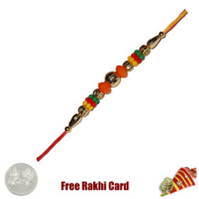 Colorful Beads Rakhi with Free Silver Coin