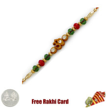 Glittering Om Rakhi  with Free Silver Coin