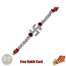 White Diamond Swastik Rakhi with Free Silver Coin