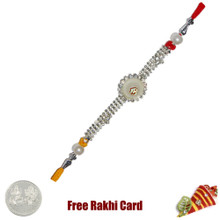 Circle Om Jewelled Rakhi Rakhi with Free Silver Coin