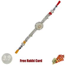 Circle Om Jewelled Rakhi Rakhi with Free Silver Coin