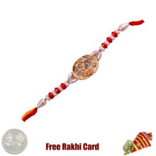 Om Gold Rakhi with Free Silver Coin