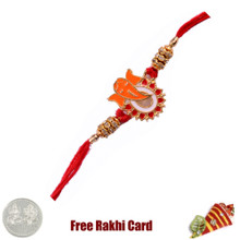 Ganesha Jewelled Rakhi with Free Silver Coin