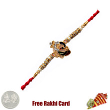 Ganesh Pearl Rakhi with Free Silver Coin