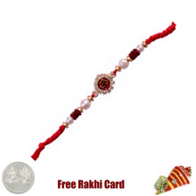 Om Gold Bracelet Rakhi with Free Silver Coin