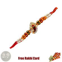 Ganesh Studded Rakhi with Free Silver Coin