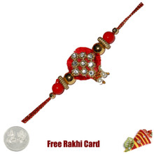 Yellow Diamond Zardosi Rakhi with Free Silver Coin