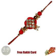 Yellow Diamond Zardosi Rakhi with Free Silver Coin