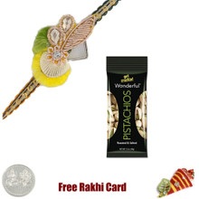 Zardosi Rakhi with 50 grams Pistachios