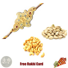 24 Ct. Gold Plated Rakhi with 225 Grams Pistachios and Cashews and Free Silver Coin