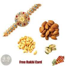 24 Ct. Gold Plated Rakhi with 450 Grams Mixed Dryfruits and Free Silver Coin