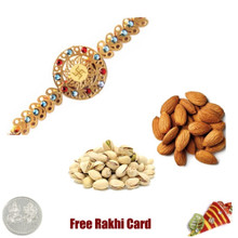 24 Ct. Gold Plated Rakhi with 450 Grams Almonds and Pistachios and Free Silver Coin