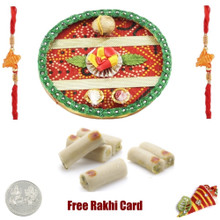 Rakhi Thali with 2 LB Assorted Rolls with Free Rakhi Thali and Free Silver Coin