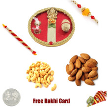 Rakhi Thali with 2 LB  Mixed Dryfruits  and Free Silver Coin