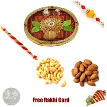Rakhi Thali with 2 LB Almonds Cashews and Free Silver Coin