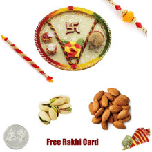 Rakhi Thali with 2 LB Almonds Pistachios and Free Silver Coin