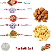 5 zardosi rakhis with 250 grams Dryfruits