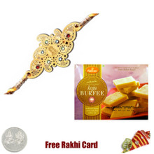 Diviniti 24 Ct. Gold Rakhi   with Haldiram Kaju Katli