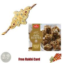 Diviniti 24 Ct. Gold Rakhi  with Haldiram Dodha Burfee
