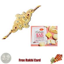 Diviniti 24 Ct. Gold Rakhi  with Haldiram Kaju Delight
