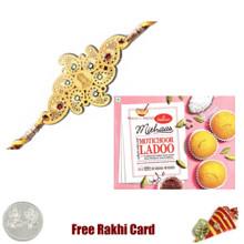 Diviniti 24 Ct. Gold Rakhi  with Haldiram Motichoor Ladoo