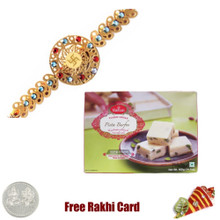 Diviniti 24 Ct. Gold Rakhi  with Haldiram Pista Burfi