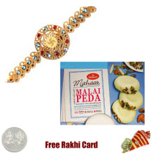 Diviniti 24 Ct. Gold Rakhi  with Haldiram Malai Peda