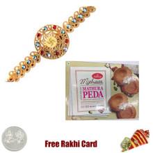 Diviniti 24 Ct. Gold Rakhi  with Haldiram Mathura Peda