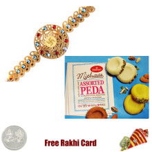 Diviniti 24 Ct. Gold Rakhi  with Haldiram Assorted Peda