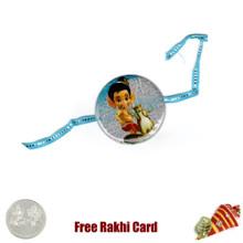Bal Ganesha Round Rakhi with a Free Silver Coin