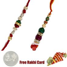 Green Stone Bhaiya Bhabhi Rakhi Pair with a Free Silver Coin