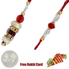 Red Stone Bhaiya Bhabhi Rakhi Pair with a Free Silver Coin