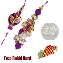 Handcrafted Zardosi Bhaiya Bhabhi Rakhi Pair with a Free Silver Coin
