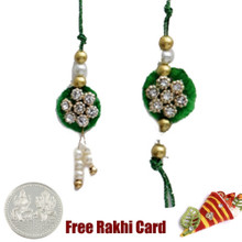 Diamond Flower Zardosi Bhaiya Bhabhi Rakhi Pair with a Free Silver Coin